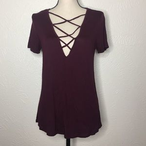 5/$25🔆 Charlotte Russe Maroon Caged Top Size Med